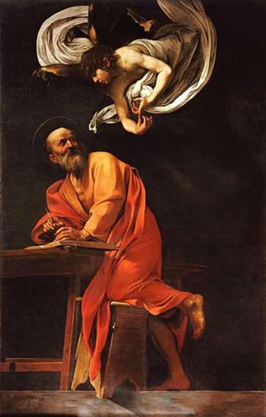 Caravaggio's Saint Matthew painting, in the church of San Luigi dei Francesi