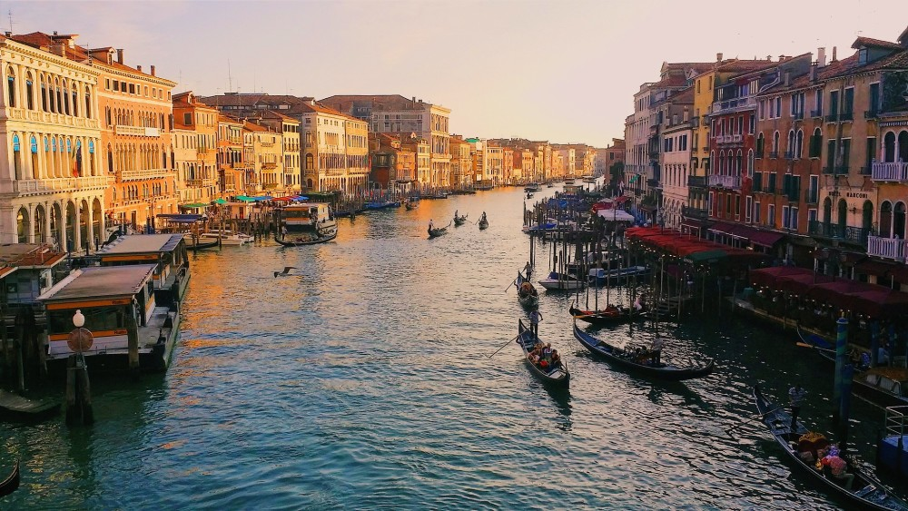 The Grand Canal in Venice at sunset