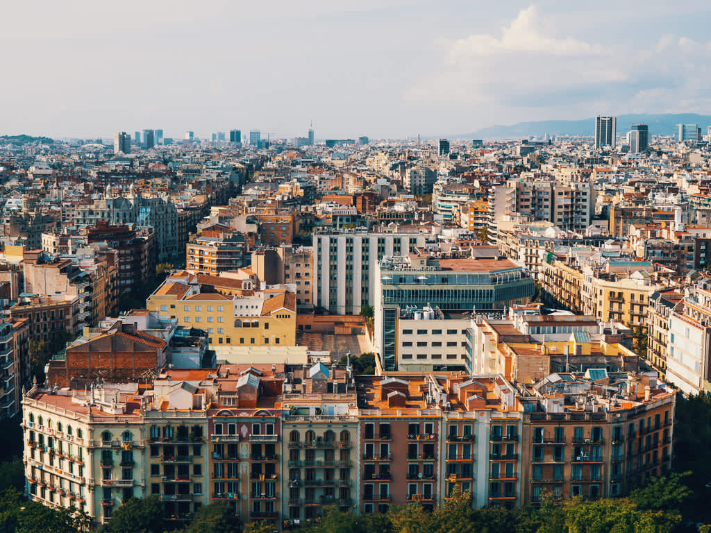 A city view of Barcelona, from the top of Dali's La Sagrada Familia