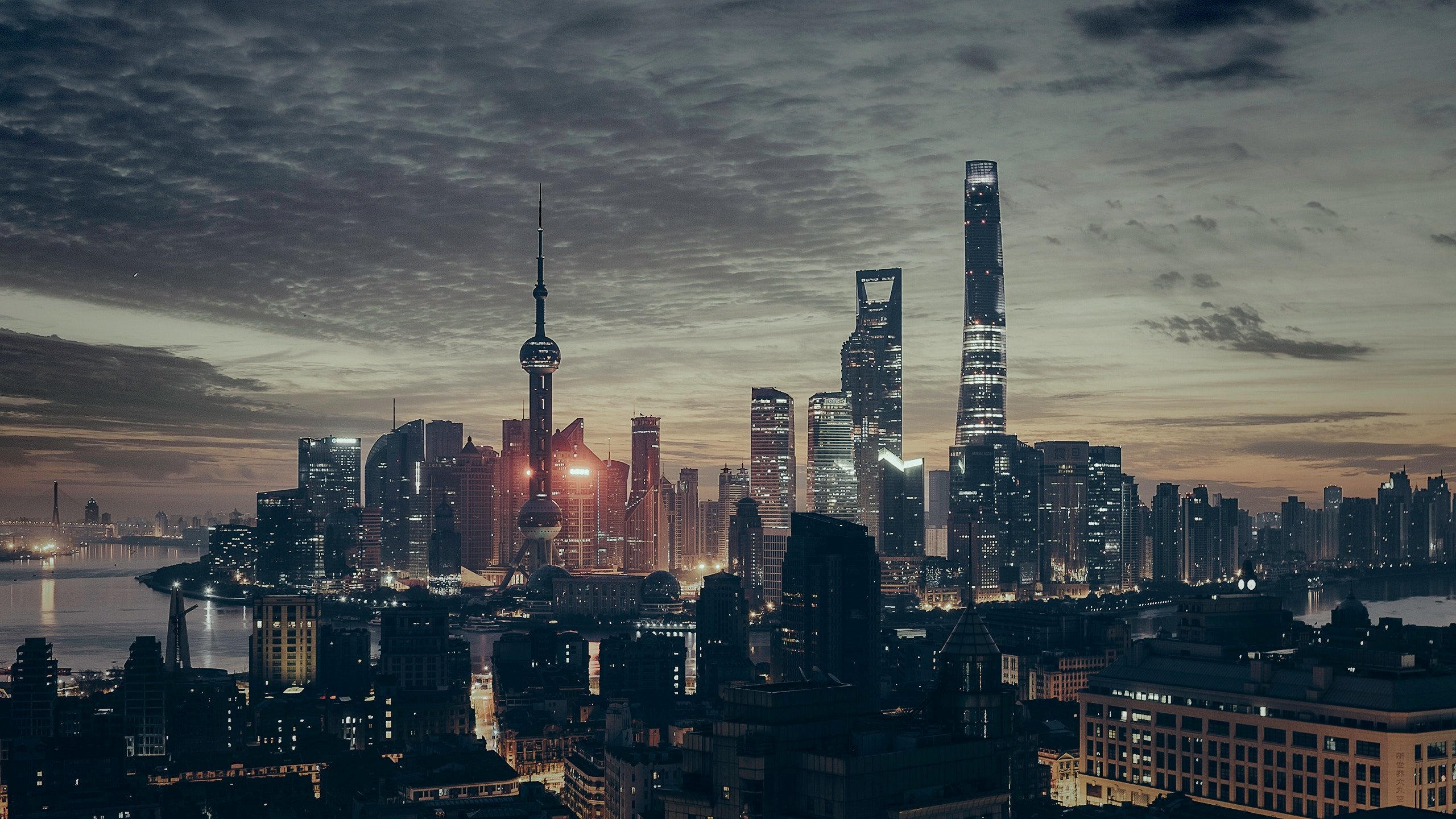 Shanghai skyline and tower at night