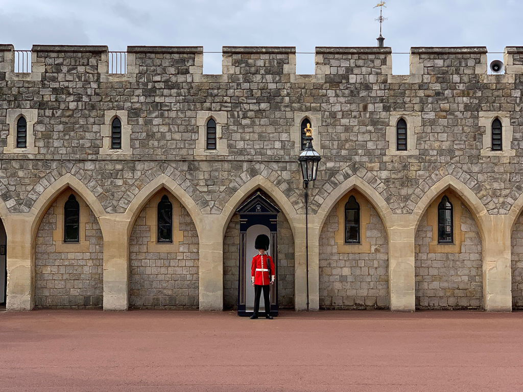 A guard stands watch at Windsor Castle