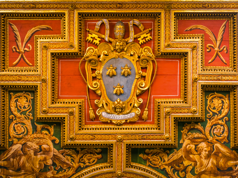 Urban VIII Barberini Coat of Arms in the Church of the Saints Cosma e Damiano in Rome, Italy.