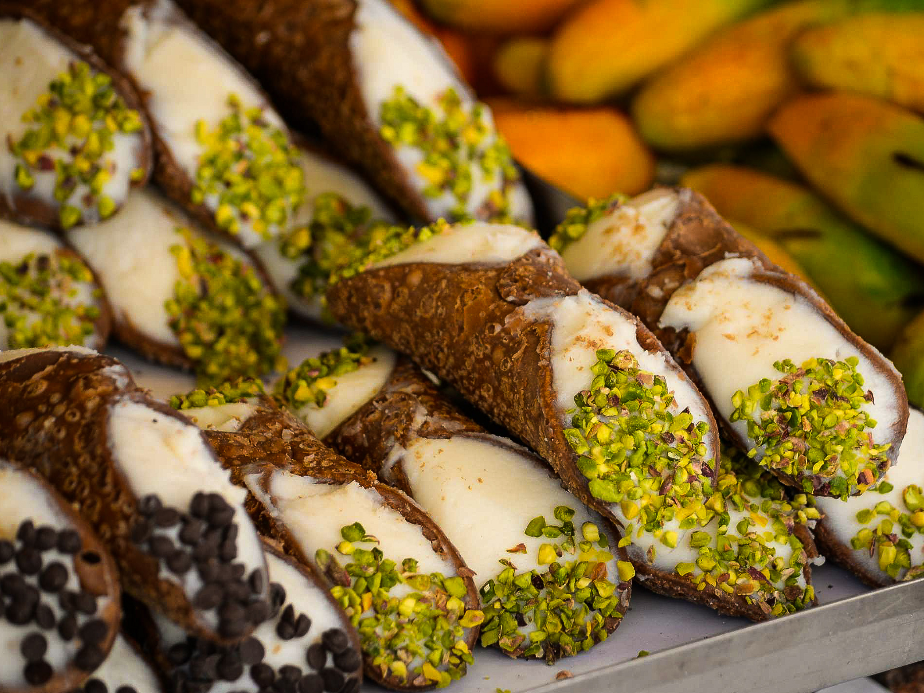 Cannoli with pistachios
