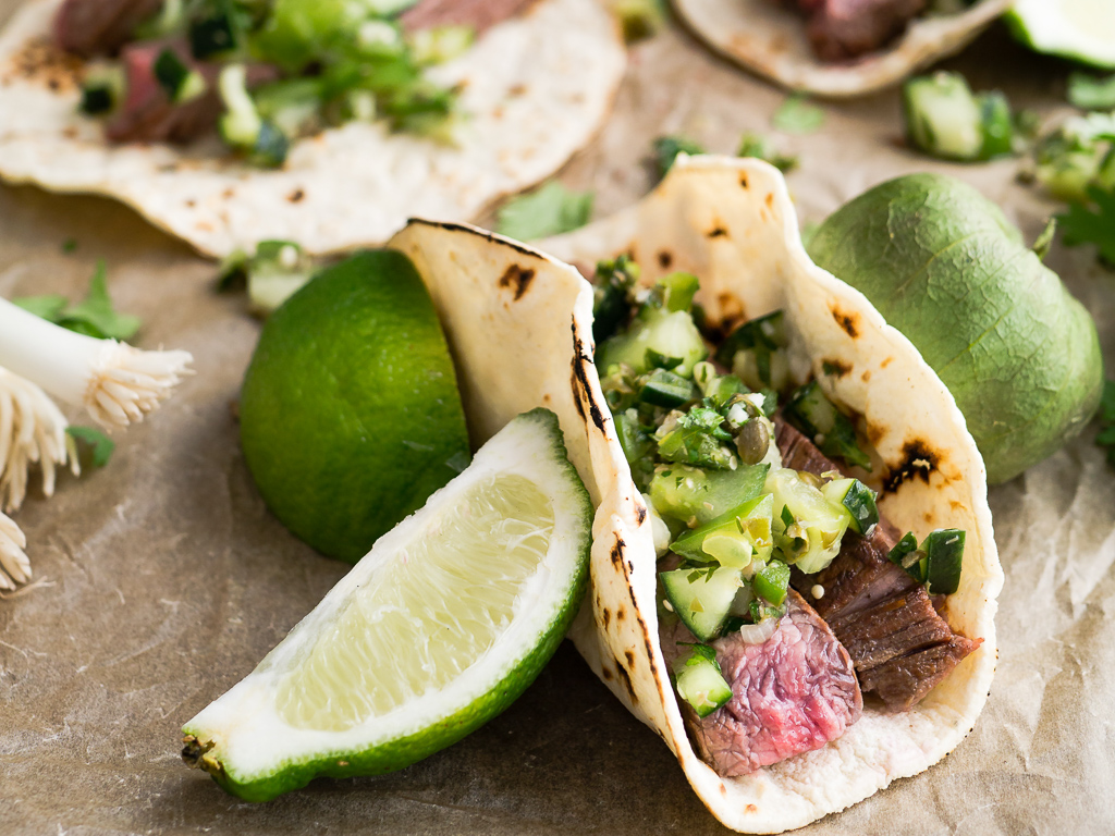 Mexican steak tacos, with lime and avocado