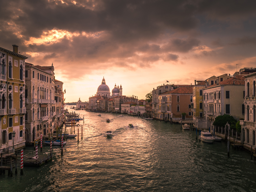 A view from the Grand Canal of Venice, where COVID-19 has caused a country-wide quarantine