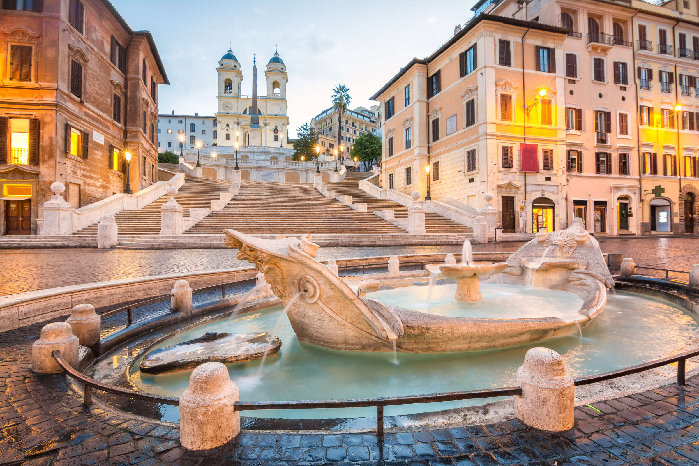 The Fontana della Barcaccia, found at the foot of the Spanish Steps